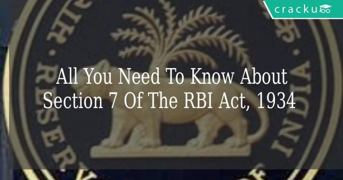 section 7 of the RBI Act, 1934