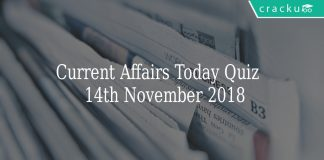 Current Affairs Today Quiz 14th November 2018