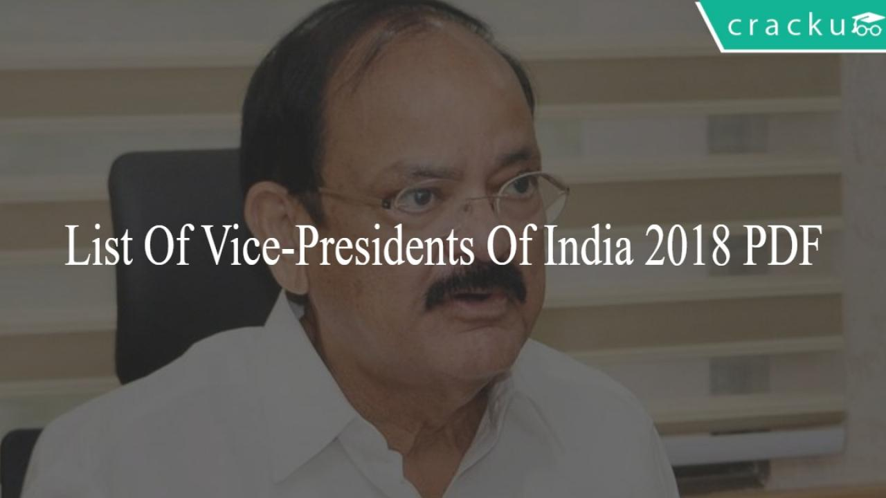 List Of Vice-presidents Of India 2018 PDF - Cracku