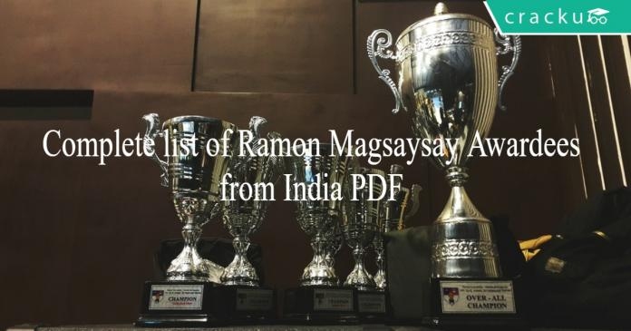 Complete list of Ramon Magsaysay Awardees from India PDF