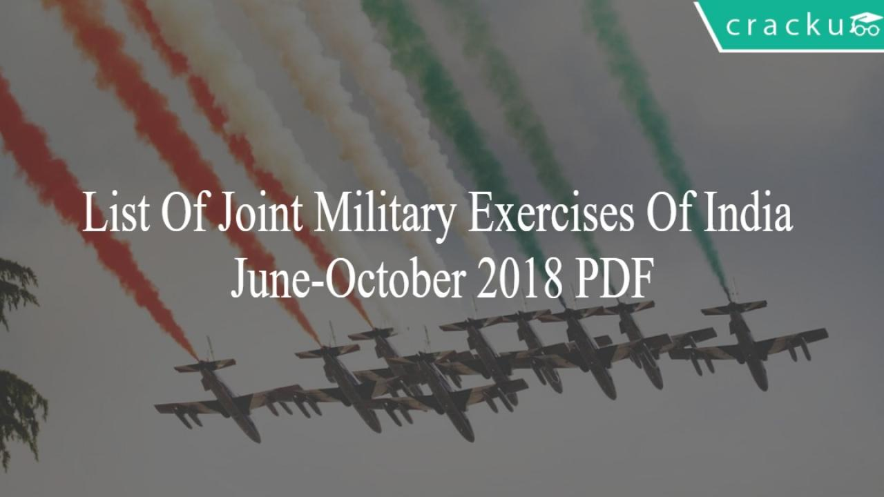 List Of Joint Military Exercises Of India June-October 2018