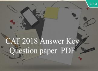 CAT 2018 Answer Key Question paper PDF