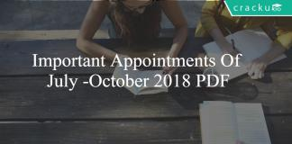 Important appointments july-october 2018