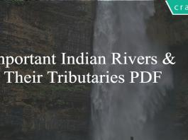 Important Indian Rivers & Their Tributarie