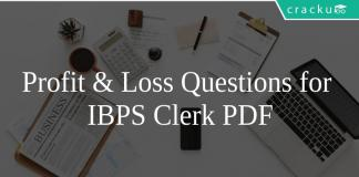 Profit & Loss Questions for IBPS Clerk PDF