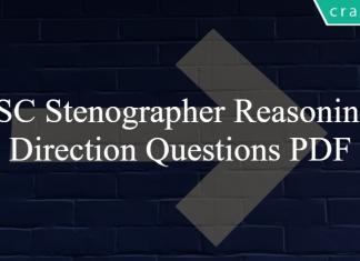 SSC Stenographer Reasoning Direction Questions PDF