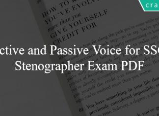 Active and Passive Voice for SSC Stenographer Exam PDF
