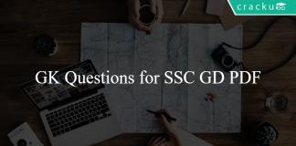 GK Questions for SSC GD PDF