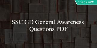 SSC GD General Awareness Questions PDF