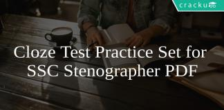 Cloze Test Practice Set for SSC Stenographer PDF