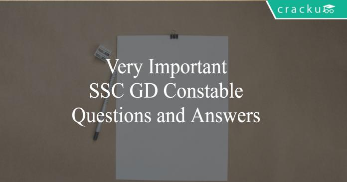 SSC GD Questions and Answers PDF