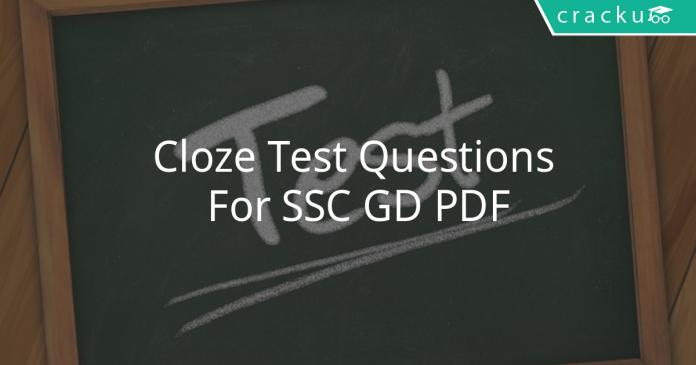 cloze test questions for ssc gd pdf