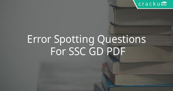 error spotting questions for ssc gd pdf