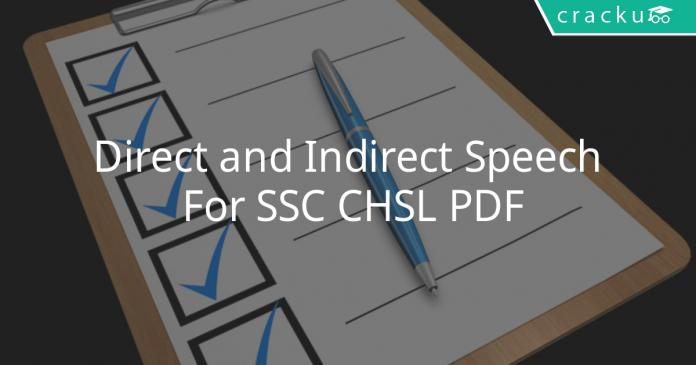 direct and indirect speech for ssc chsl pdf
