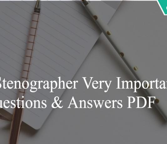 SSC Stenographer Important Questions and Answers PDF