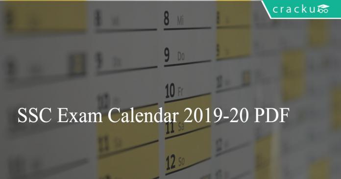 SSC Exam Calendar 2019-20 PDF