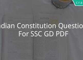 Indian Constitution Questions For SSC GD PDF