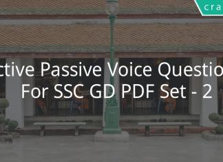 Active Passive Voice Questions for SSC GD PDF Set - 2