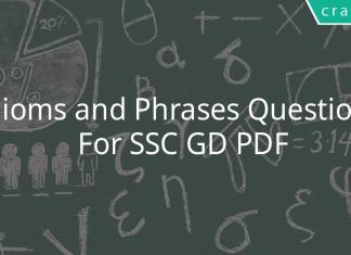Idioms and Phrases Questions For SSC GD PDF