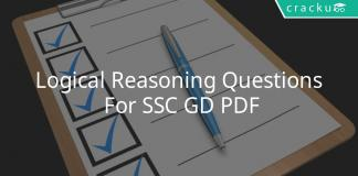Logical Reasoning Questions For SSC GD PDF