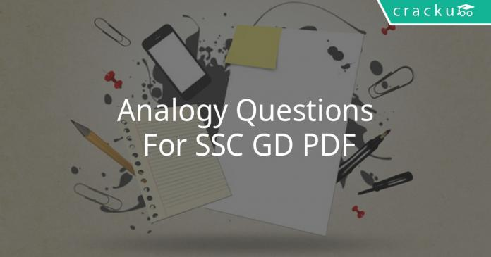 Analogy Questions For SSC GD PDF