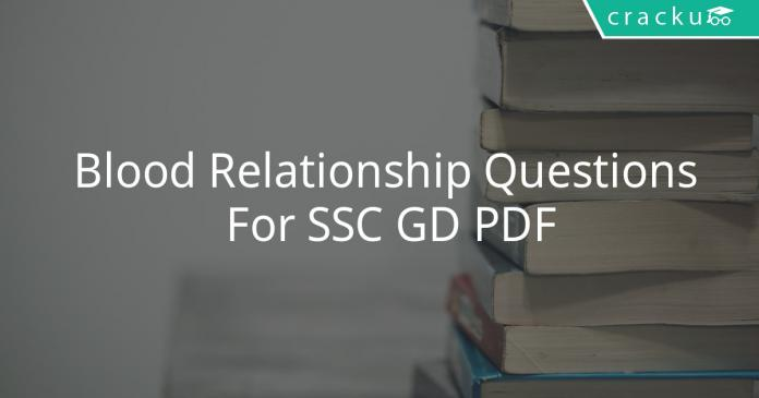 Blood Relationship Questions For SSC GD PDF