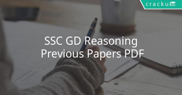 SSC GD Reasoning Previous Papers PDF