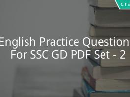 English Practice Questions For SSC GD PDF Set - 2