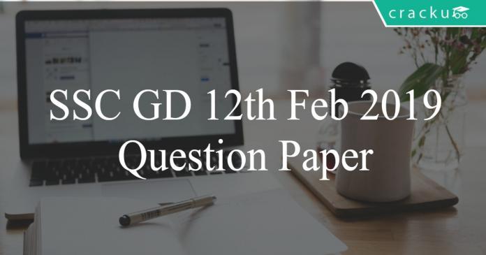 ssc gd 2019 question paper