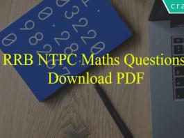 RRB NTPC Maths Questions PDF