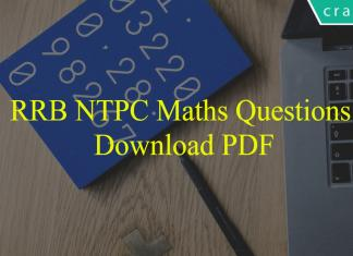 RRB NTPC Maths Questions PDF