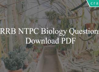 RRB NTPC Biology Questions PDF