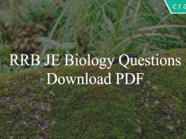 RRB JE Biology Questions PDF