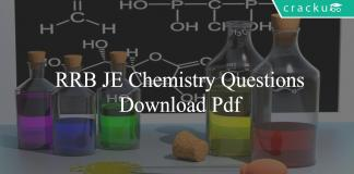 RRB JE Chemistry Questions PDF