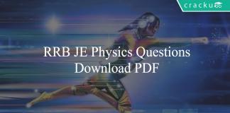 RRB JE Physics Questions PDF