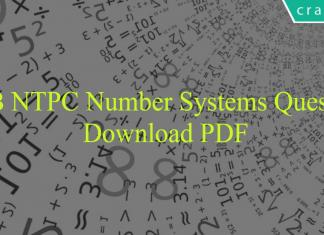 RRB NTPC Number Systems Questions