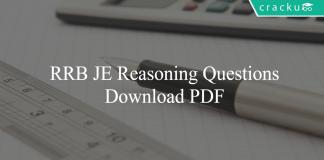 RRB JE Reasoning Questions PDF