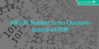 RRB JE Number Series Questions PDF
