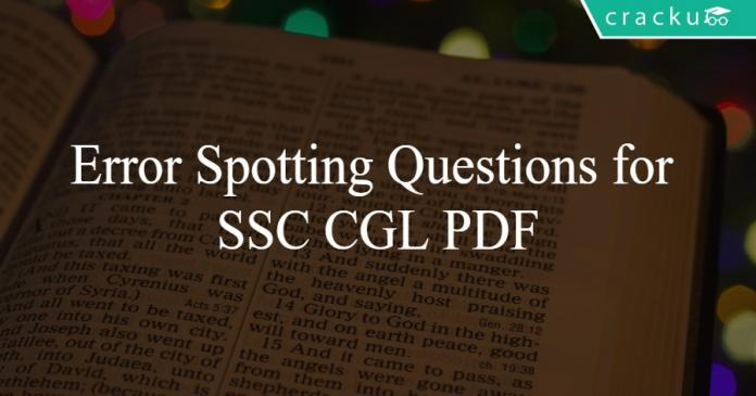 Error Spotting Questions for SSC CGL PDF