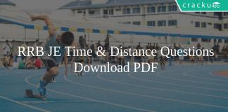 RRB JE Time & Distance Questions PDF