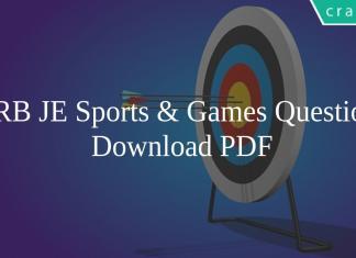 RRB JE Sports & Games Questions PDF