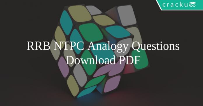 RRB NTPC Analogy Questions PDF