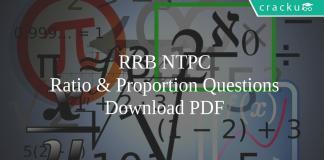 RRB NTPC Ratio & Proportion Questions pdf