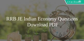 RRB JE Indian Economy Questions PDF