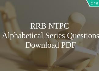 RRB NTPC Alphabetical Series Questions PDF