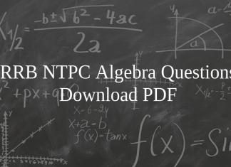 RRB NTPC Algebra Questions PDF