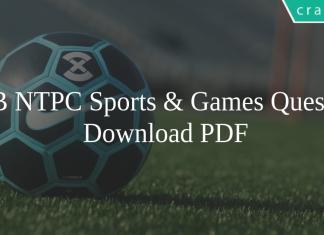 RRB NTPC Sports & Games Questions PDF