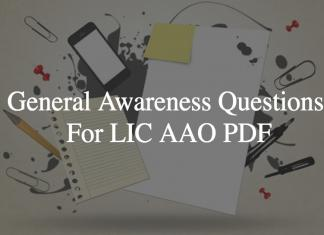 General Awareness Questions For LIC AAO PDF
