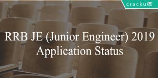 RRB JE 2019 application status