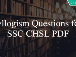 Syllogism Questions for SSC CHSL PDF